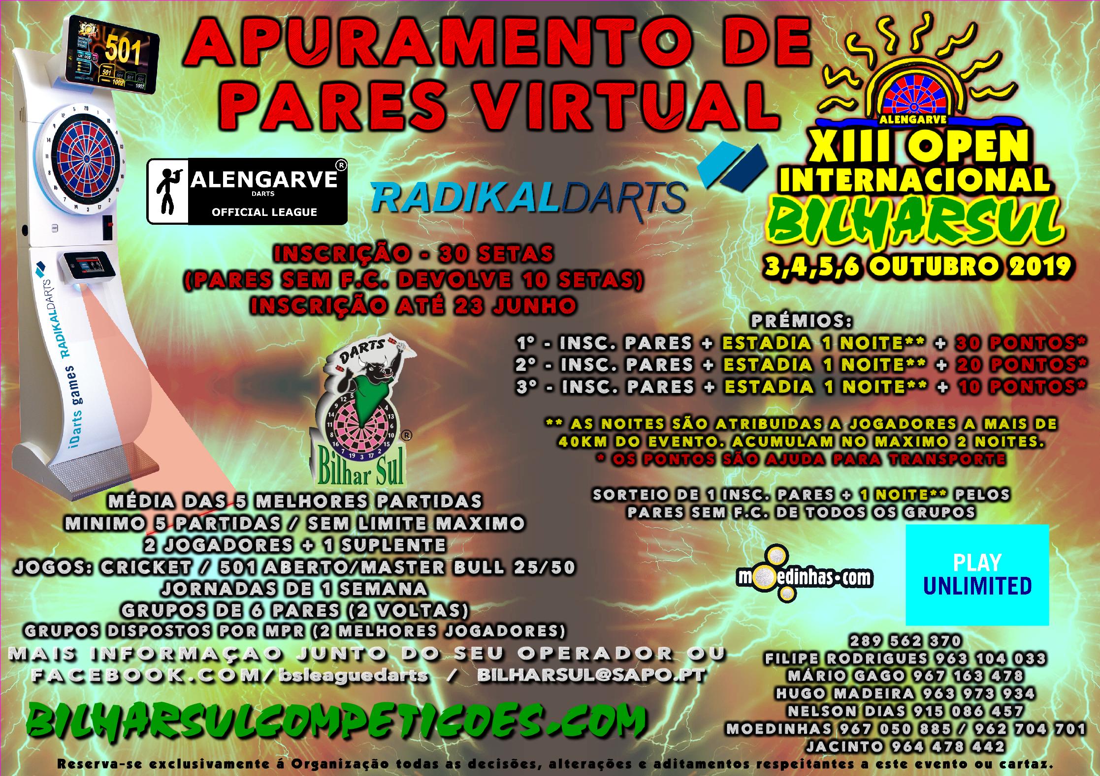 APURAMENTO DE PARES VIRTUAL – XIII OPEN INTERNACIONAL